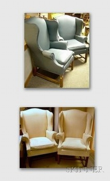 Two Pairs of Georgian-style Upholstered Wing Chairs.