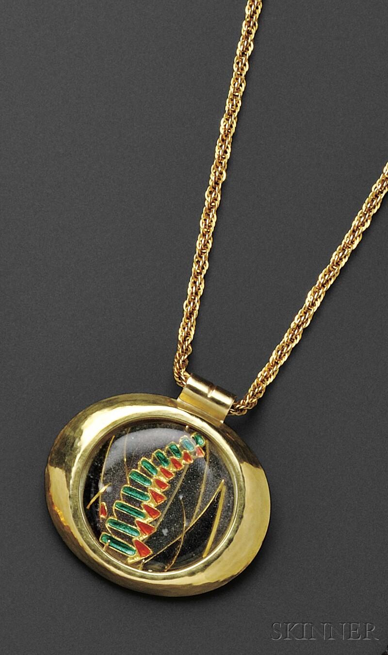 18kt and 22kt Gold and En Resille   Enamel Pendant, Margret Craver