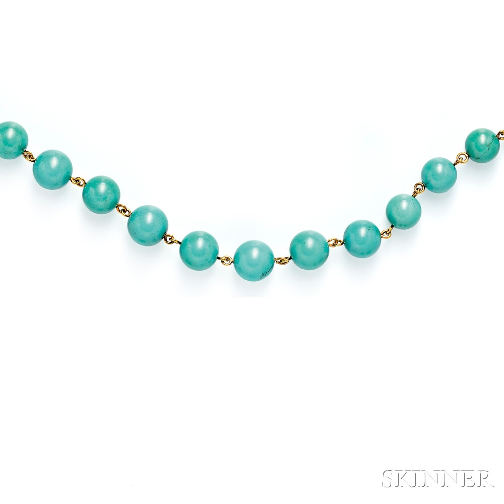 18kt Gold and Turquoise Bead Necklace