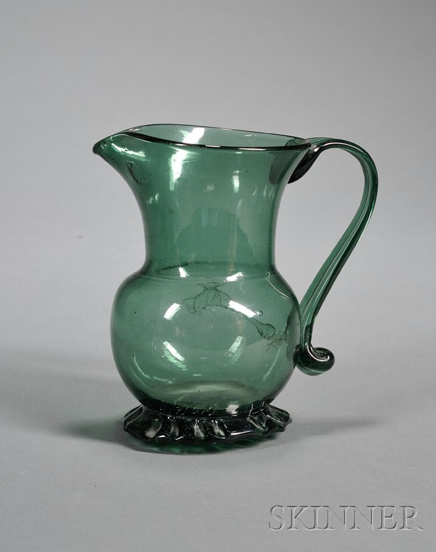 Early Free-blown Smoky Green Glass Pitcher