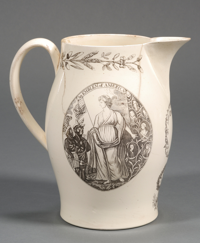 Transfer-Decorated Washington Memorial Liverpool Creamware Jug