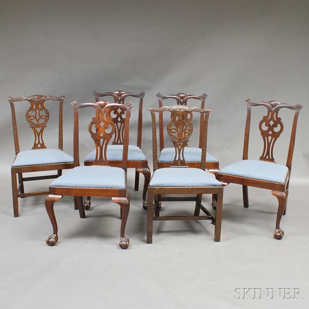 Six Chippendale-style Mahogany Side Chairs