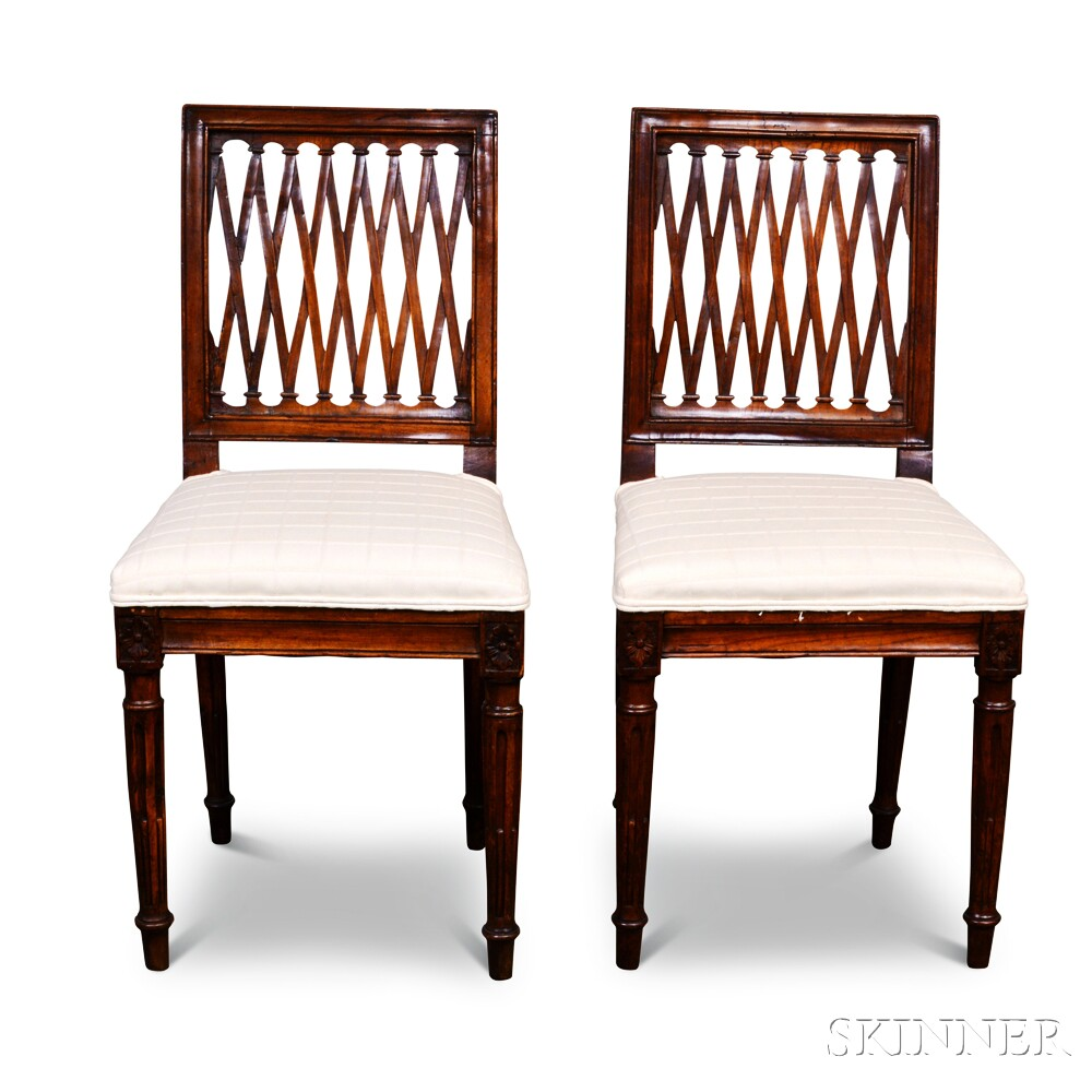 Pair of Louis XVI Carved Fruitwood Side ChairsPair of Louis XVI Carved...