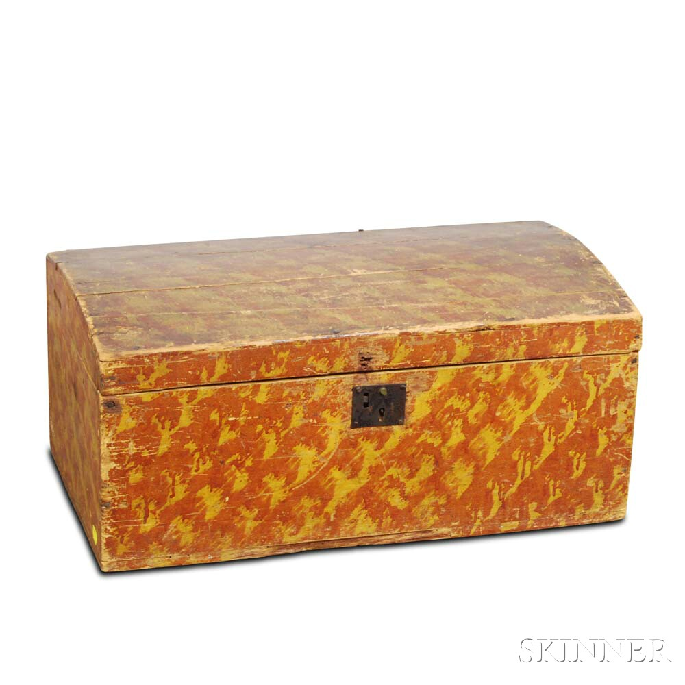 Grain-painted Pine Dome-top Box