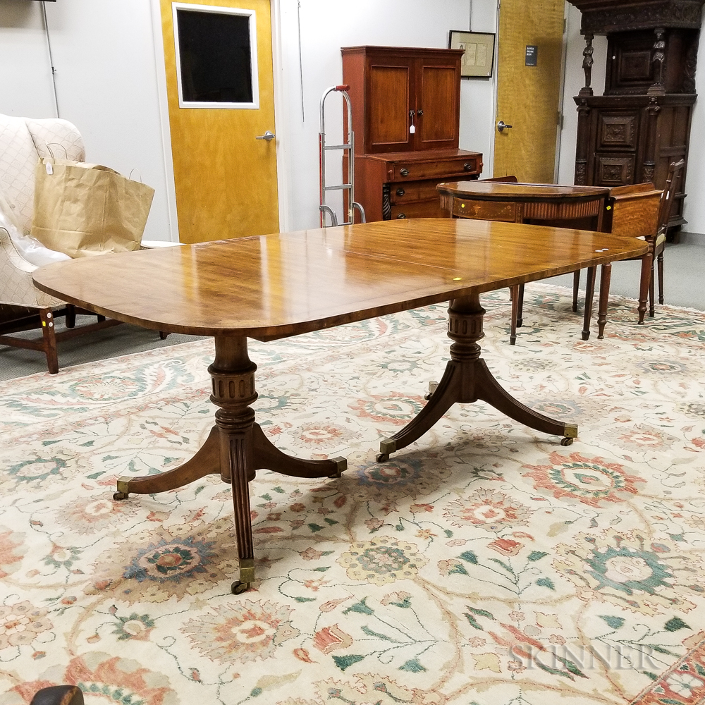 George III-style Carved Mahogany Double-pedestal Dining Table