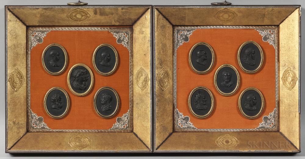 Pair of Framed Wedgwood Black Basalt Portrait Medallions