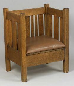 Arts & Crafts Oak Cube Chair