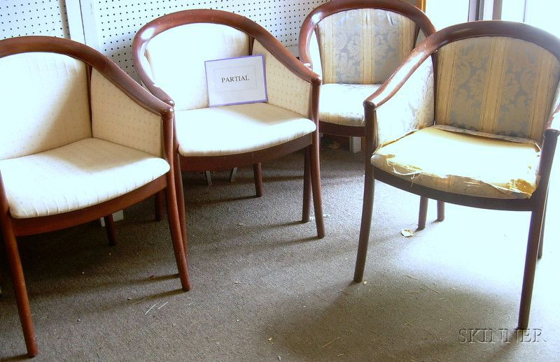 Group of Six Upholstered Beechwood Tub Chairs.