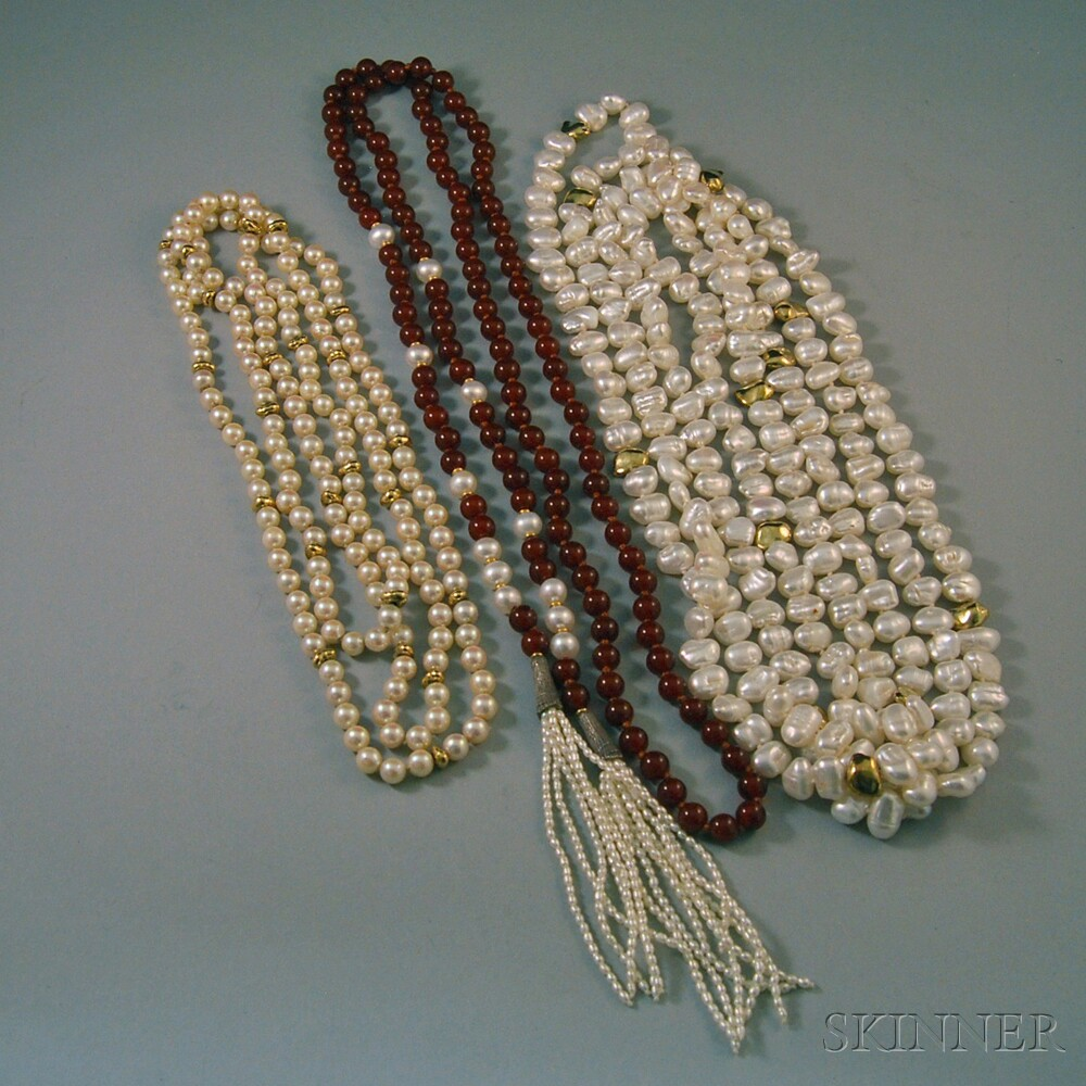 Two Pearl Necklaces and a Pearl and Red Hardstone Bead and Pearl Lariat