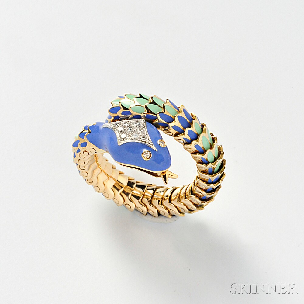 18kt Gold, Enamel, and Diamond Snake Ring