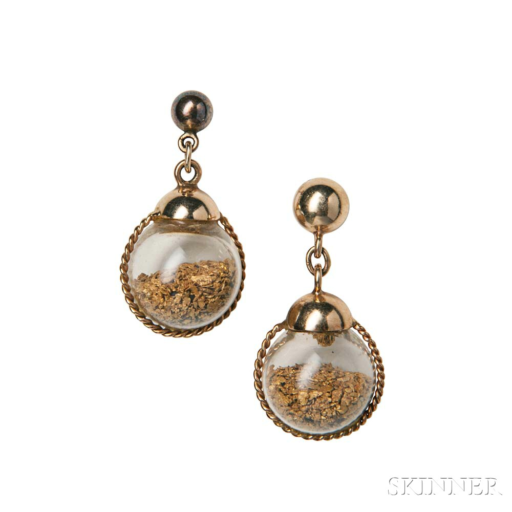 14kt Gold and Gold Dust Earrings