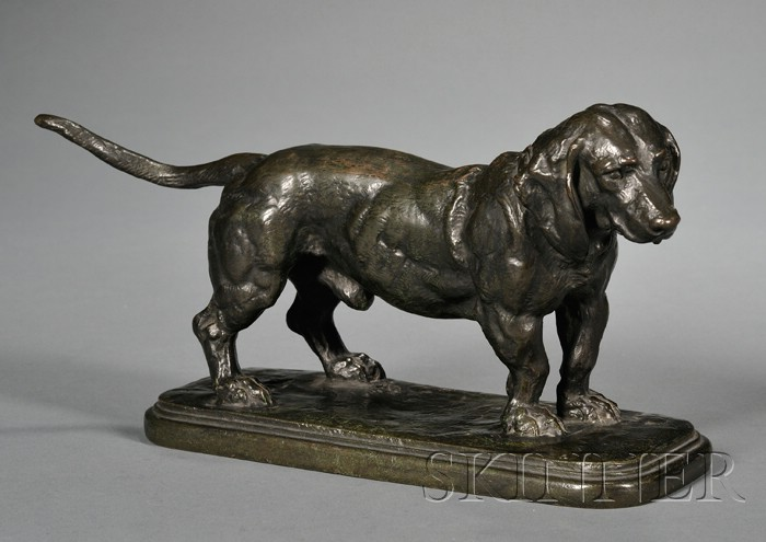 Antoine Louis Barye (French, 1795-1875)       Bronze Model of a Basset Hound