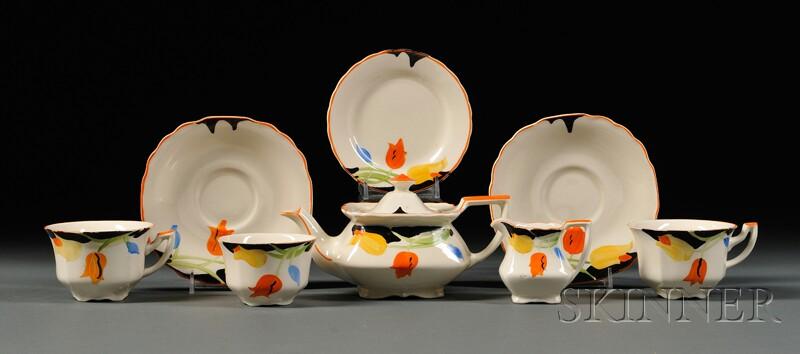 Five-piece Myott, Son & Co. Art Deco Hand-painted Partial Tea Set