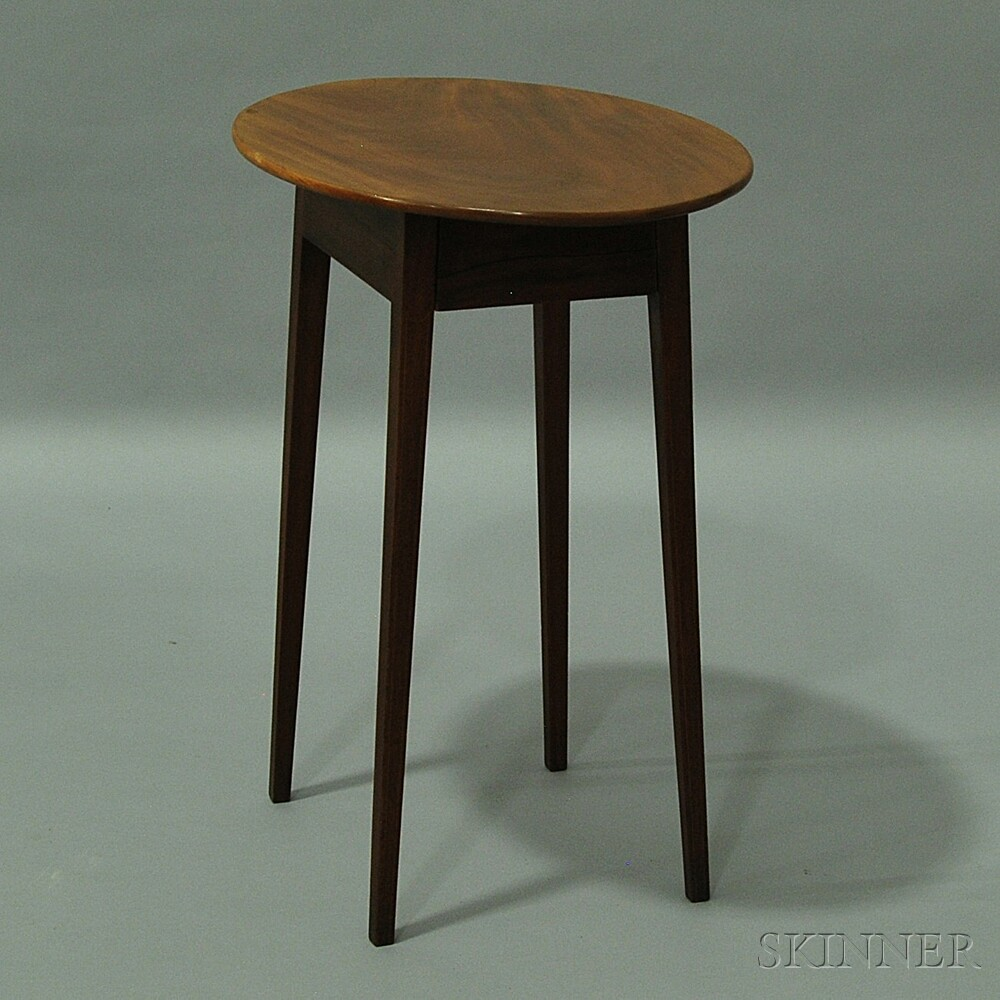 Federal Inlaid Mahogany Oval-top One-drawer Stand