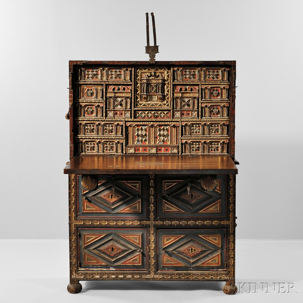 Spanish Baroque-style Vargueno on Stand