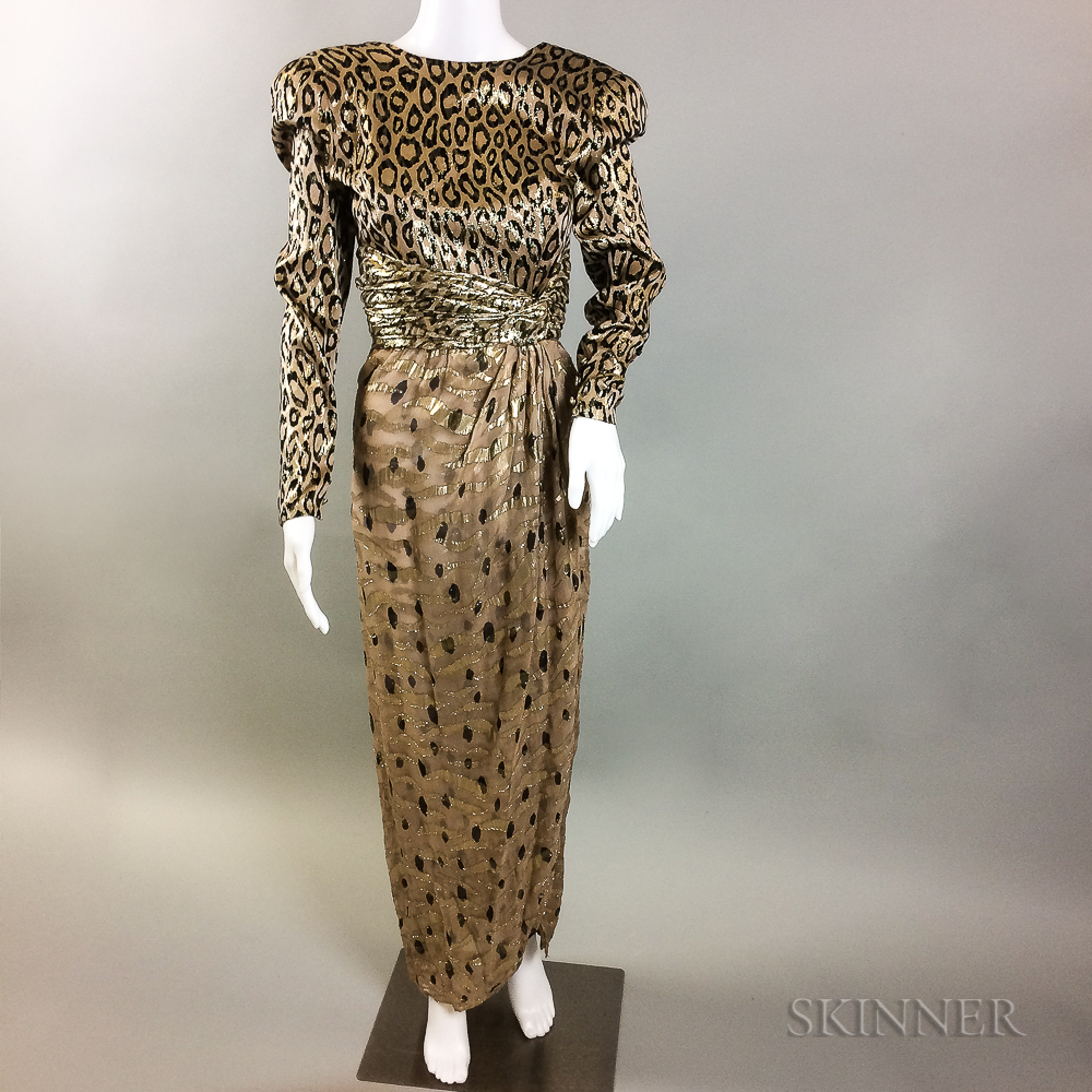 Bill Blass Silk Lame Leopard-print Gown