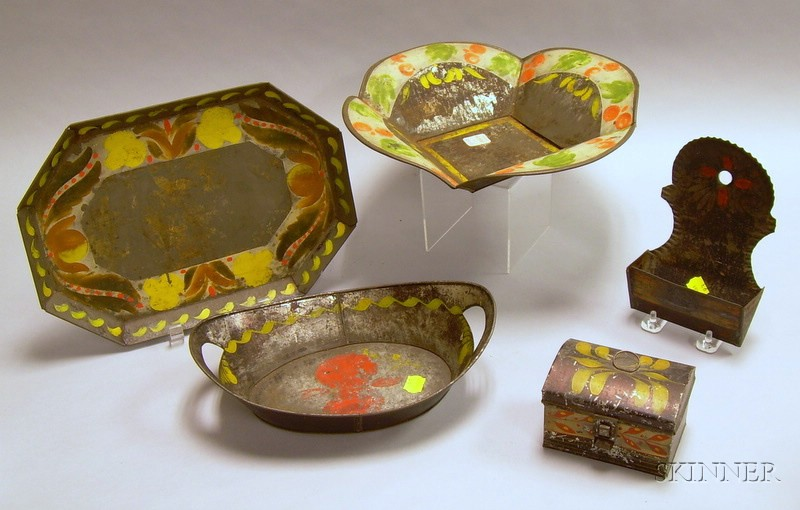 Five Pieces of Assorted Decorated Tole Table and Wall Items.