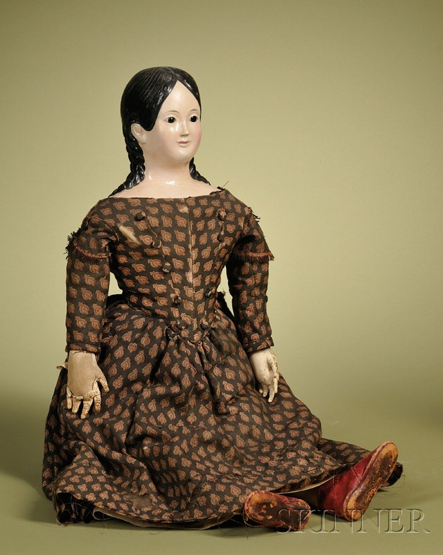 Papier-mache Lady with Glass Eyes