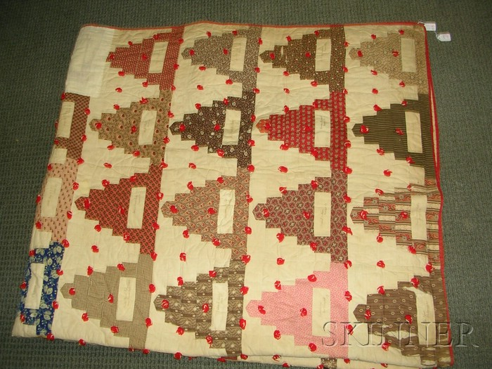 Pieced Cotton Wedding Cake Pattern Friendship Quilt and a Pieced Cotton Bedspread Sale Number ...