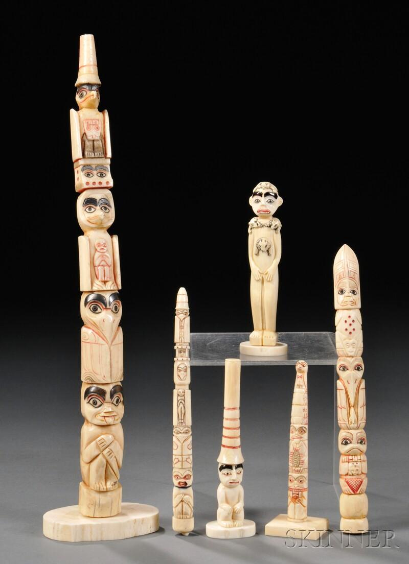 Six Carved Bone Totem Poles Sale Number 2612m Lot Number 247 Skinner Auctioneers