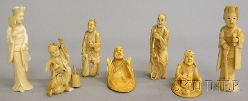 Seven Japanese Carved Ivory Figures
