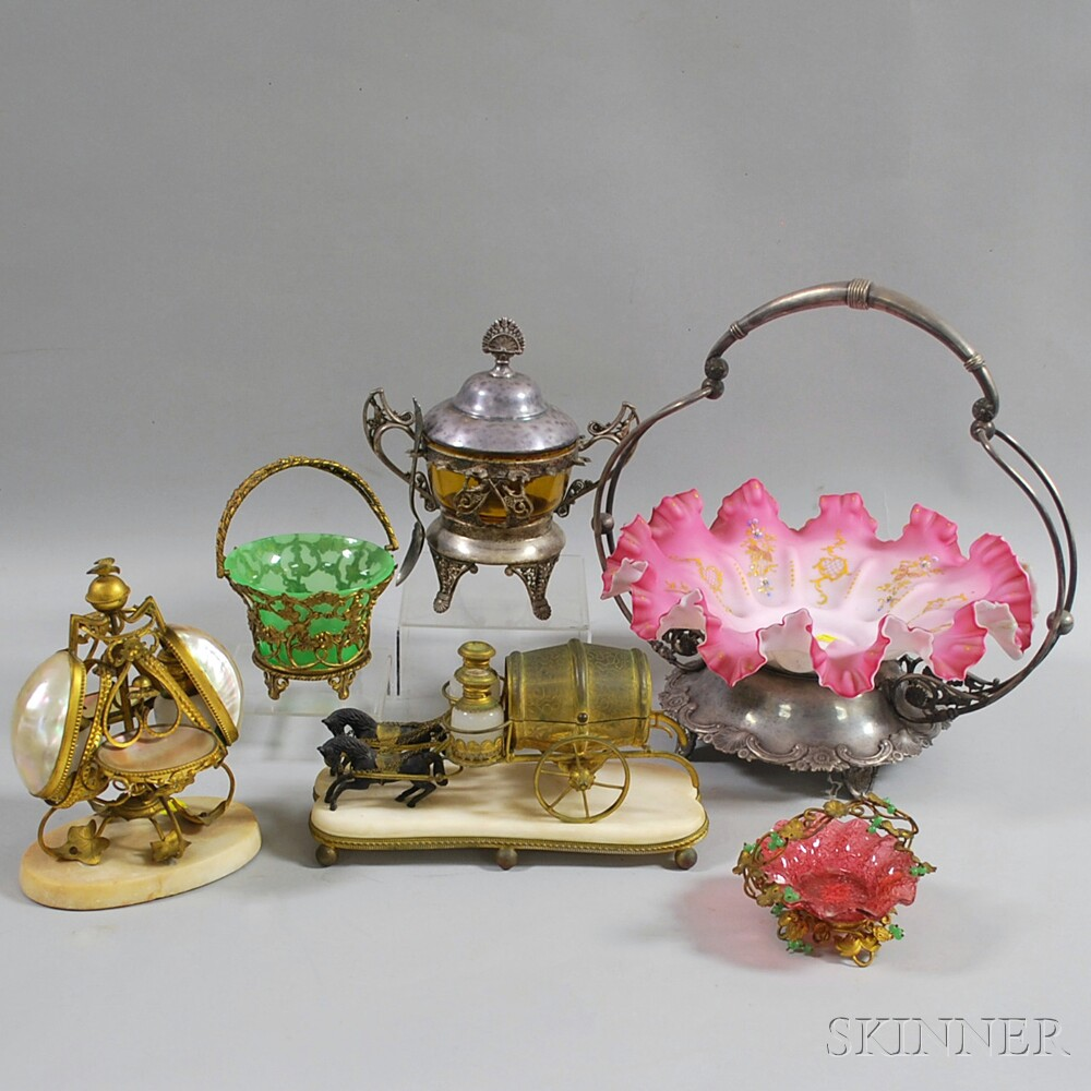 Six Victorian Metal and Glass Table Articles