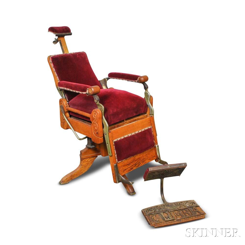 Kochs Velvet-upholstered Oak Barber's Chair