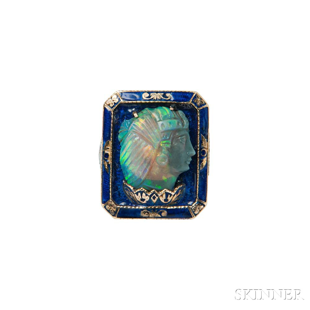 Egyptian Revival 14kt Gold, Carved Opal, and Enamel Ring