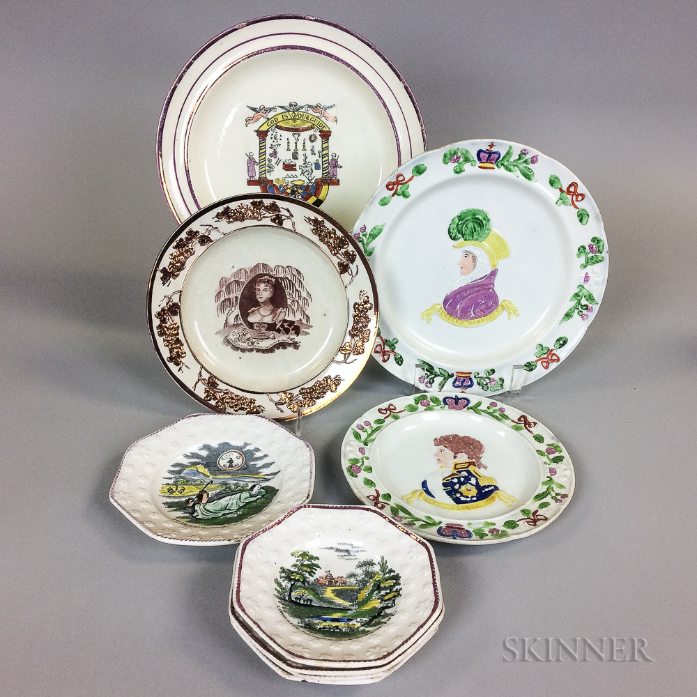 Nine Staffordshire Lustre-decorated Ceramic Plates