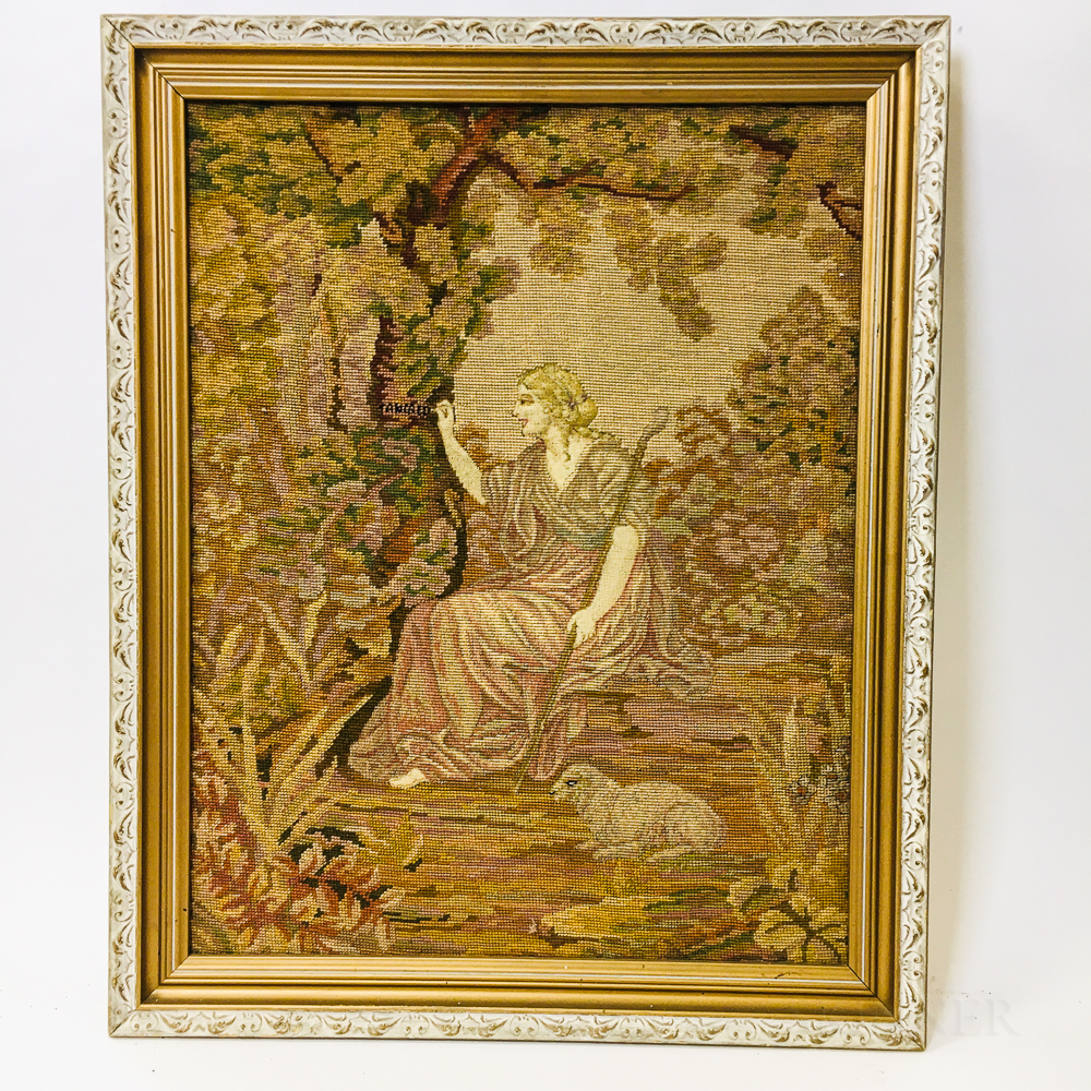 Framed Needlepoint Tapestry of a Shepherdess
