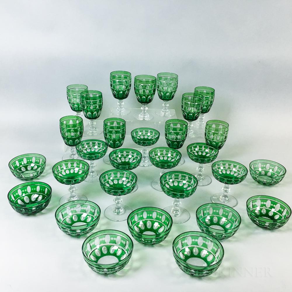 Twenty-nine Pieces of Emerald Overlay Glass,