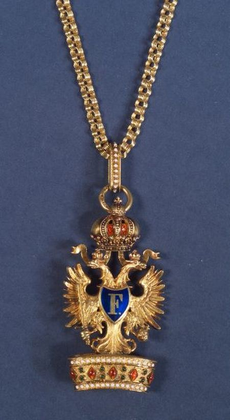 Russian Gold and Enamel Presentation Pendant