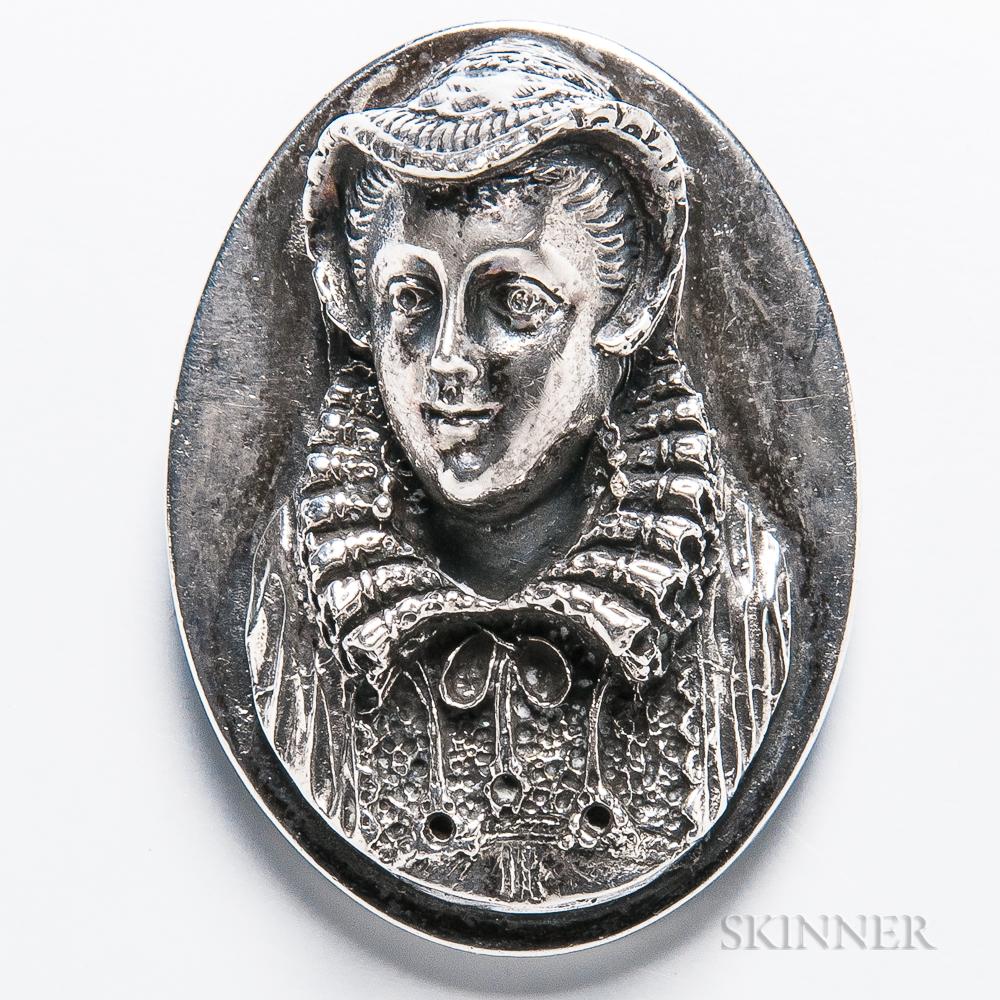 Henryk Winograd .999 Silver Mary Queen of Scots Pendant/Brooch