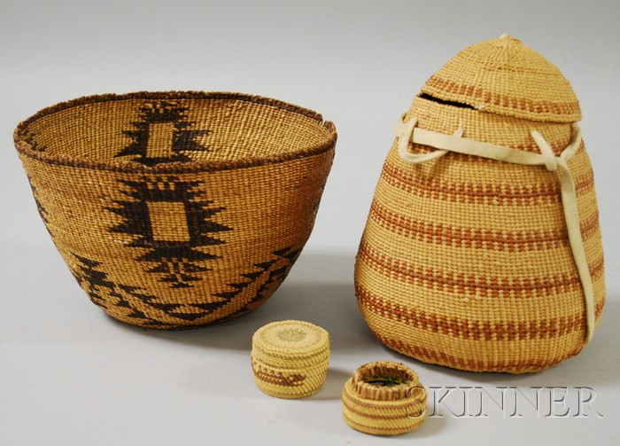 Two Northern California Twined Baskets