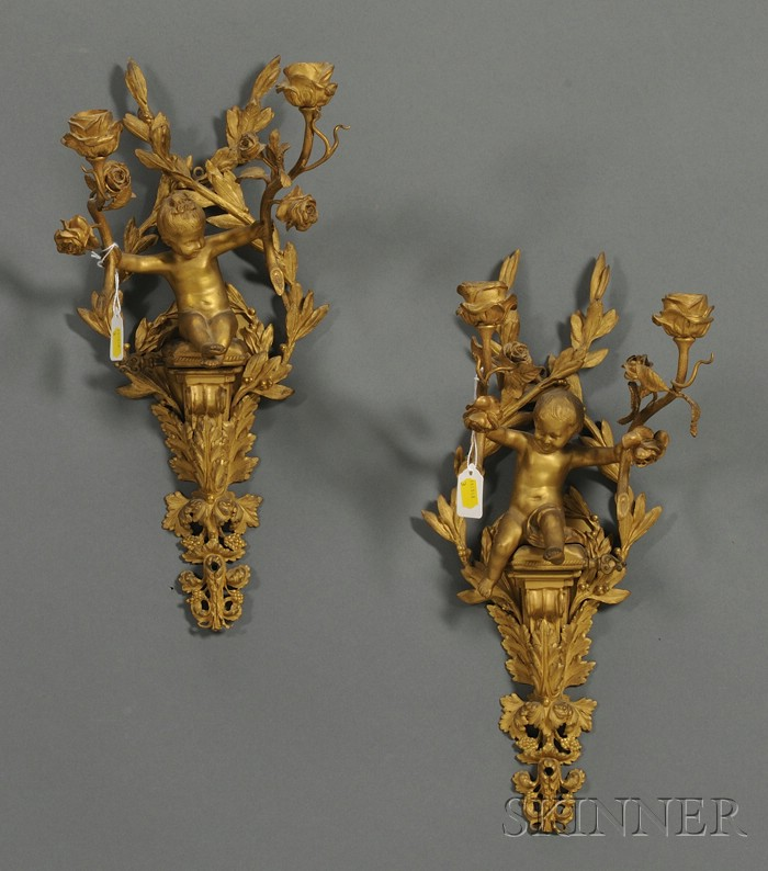 Pair of Neoclassical Bronze Two-light Wall Sconces