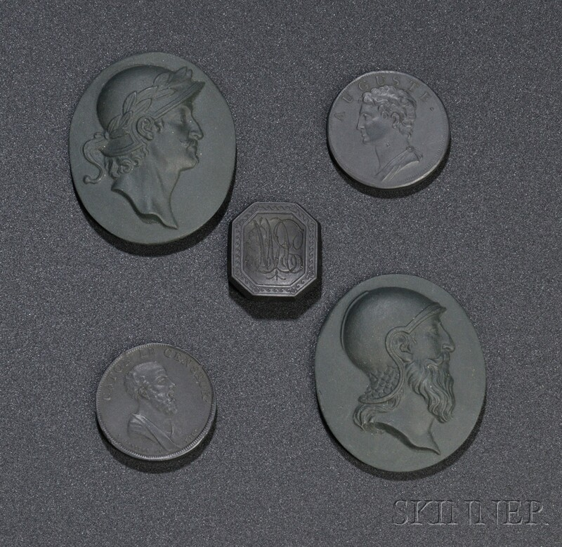 Five Wedgwood Black Basalt Medallions
