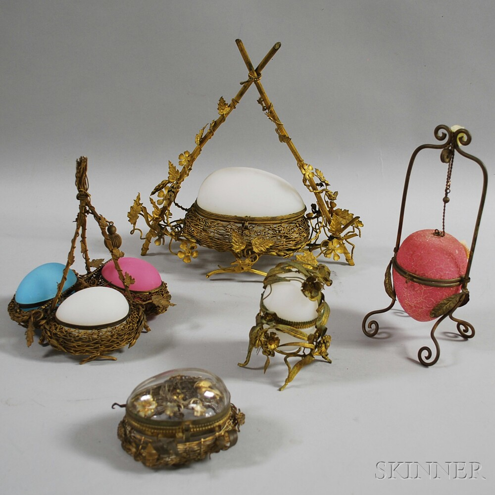 Five Victorian Egg-form Covered Boxes