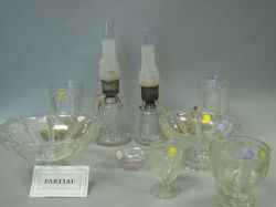 Twenty-eight Pieces of Colorless Pressed Cable Pattern Glass Tableware