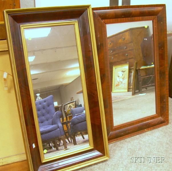 Two Empire Mahogany Veneer Mirrors