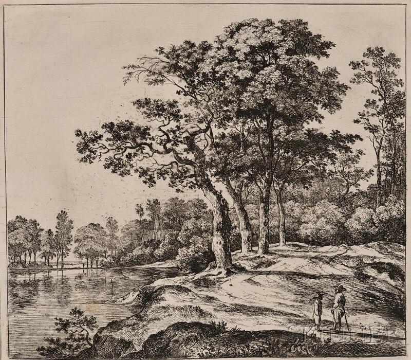Jan Hackaert (Dutch, 1629-c. 1700)      Landscape with Four Trees