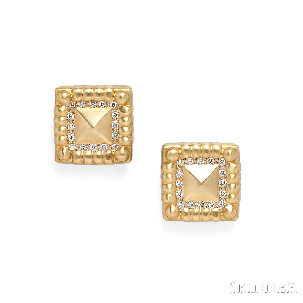 14kt Gold and Diamond Earclips