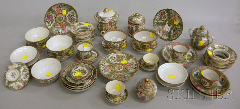 Forty-nine Pieces of Chinese Export Rose Medallion Tea and Table Ware