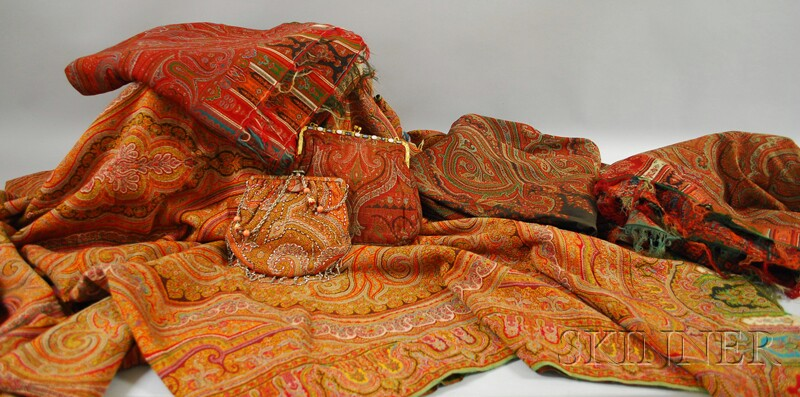 Four Paisley Textiles and Two Vintage Paisley Fabric Purses