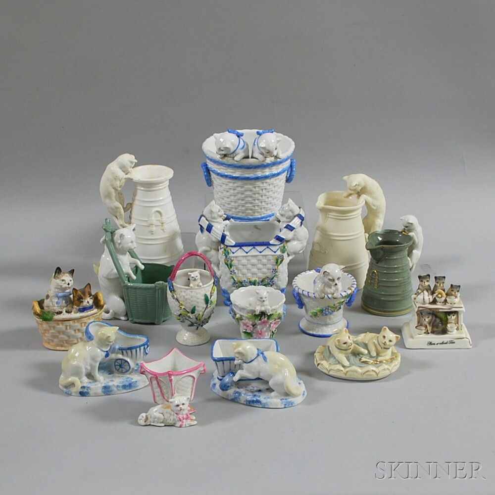 Fifteen Ceramic Cat-related Vessels