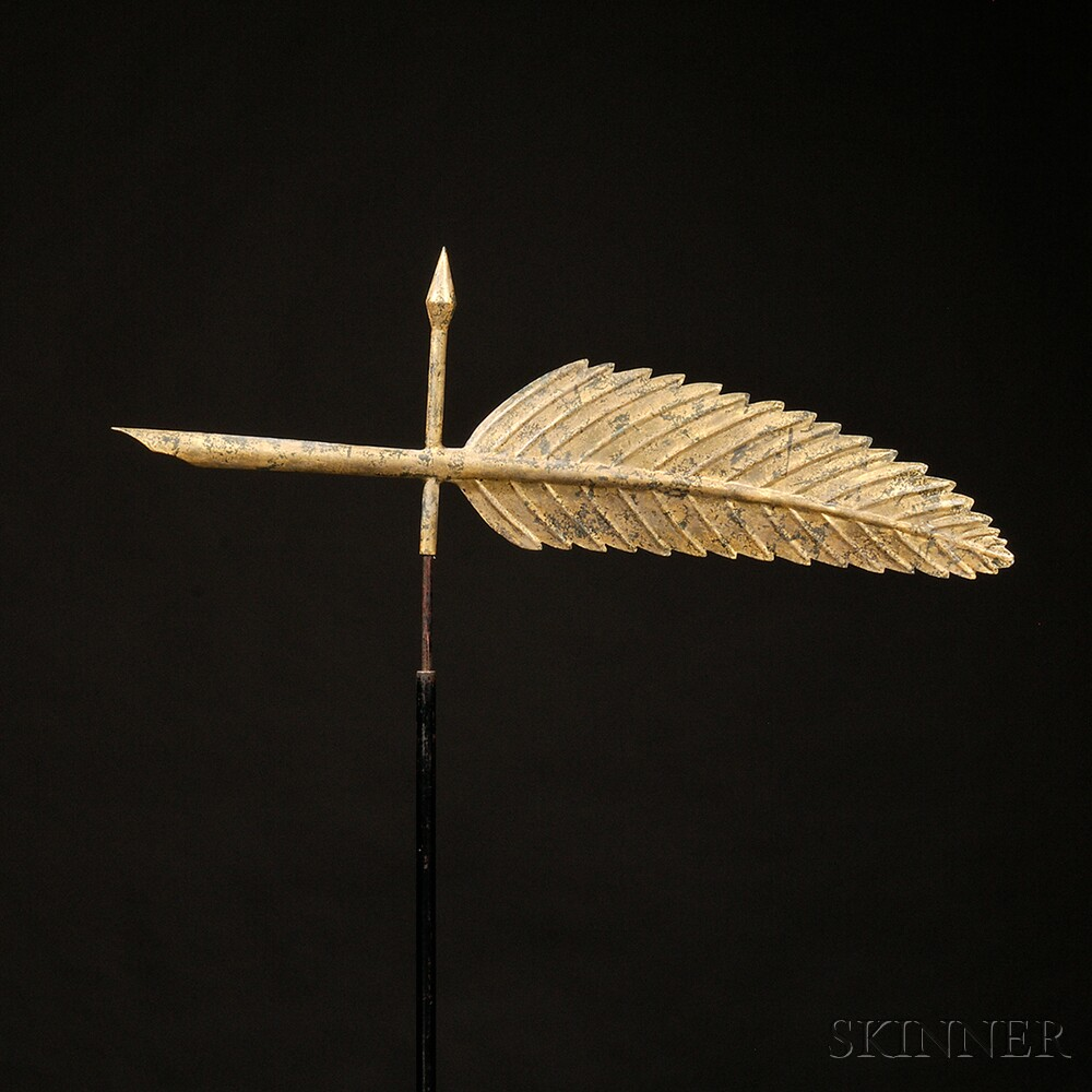 Gilt Molded Copper Quill Weathervane