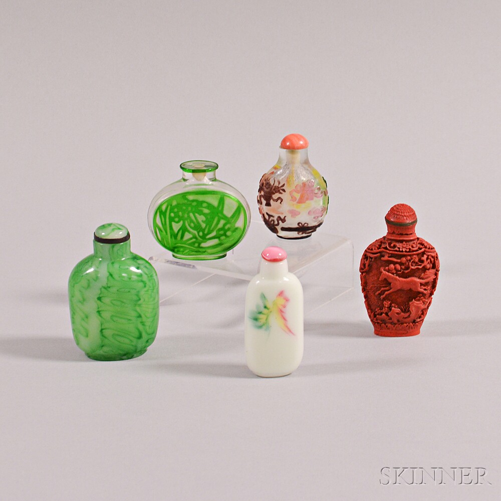 Four Peking Glass Snuff Bottles