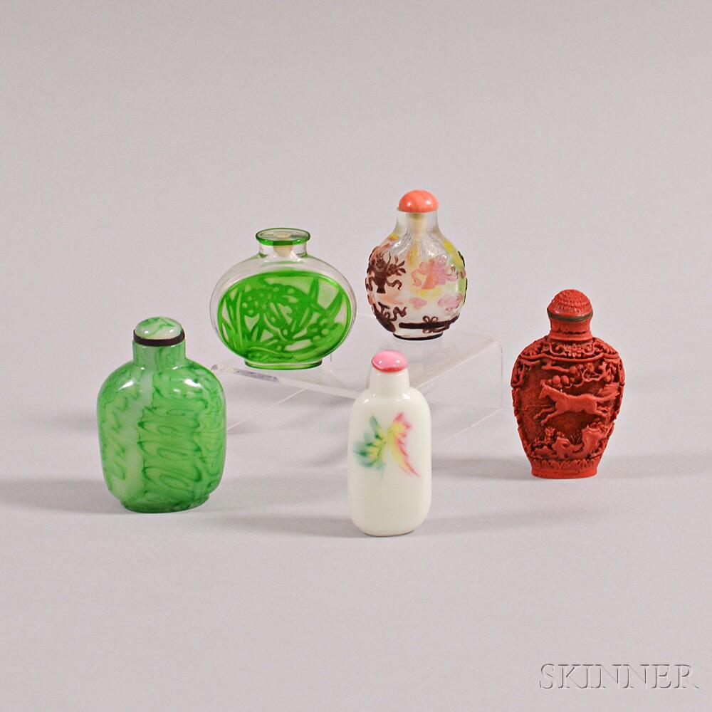 Four Peking Glass Snuff Bottles