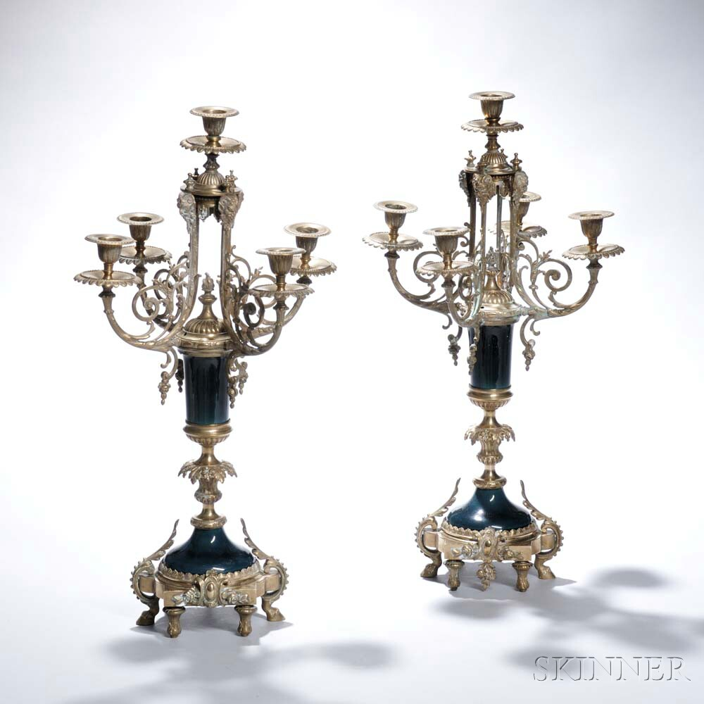 Pair of French Gilt-bronze and Porcelain Five-light Candelabra