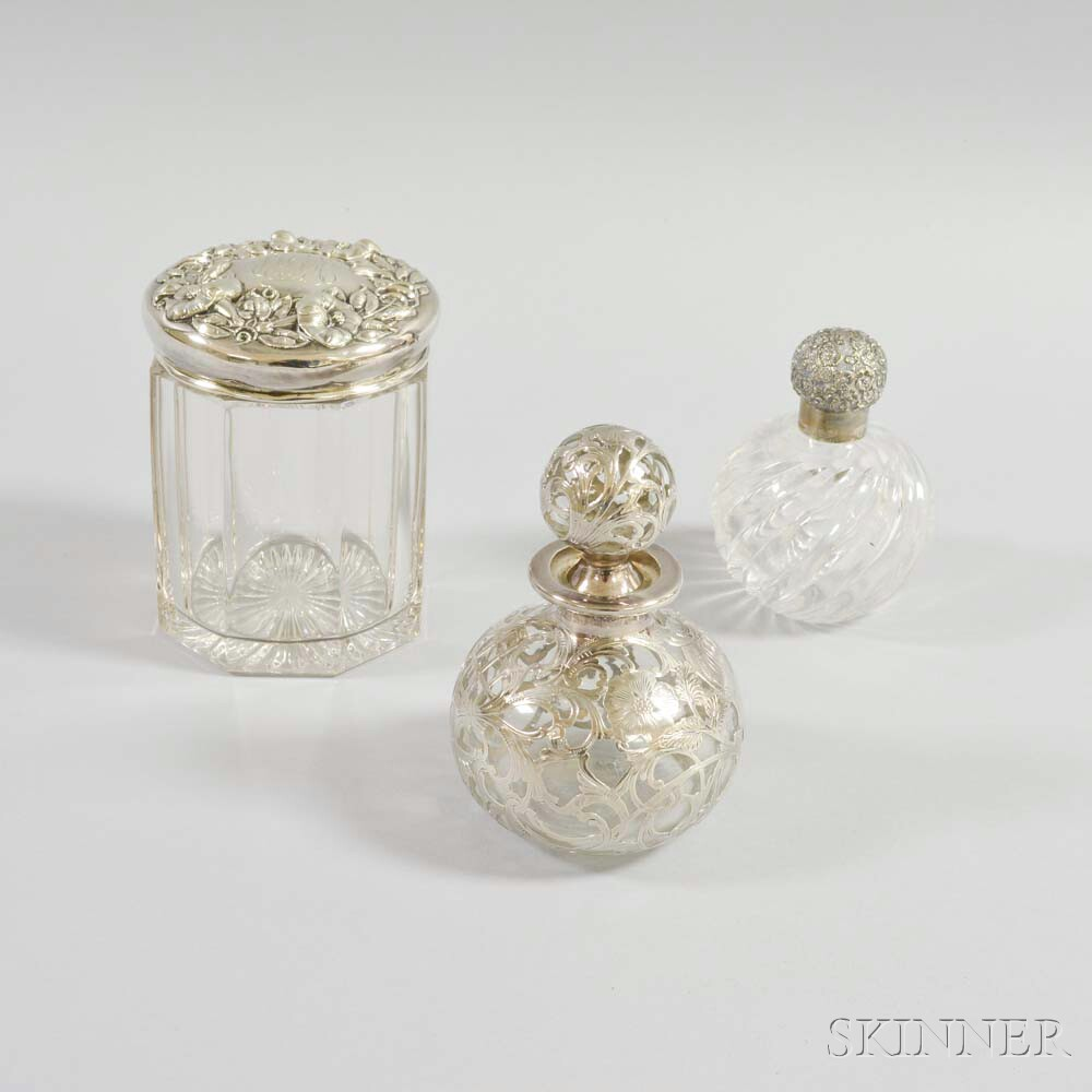 Three Glass and Silver Containers