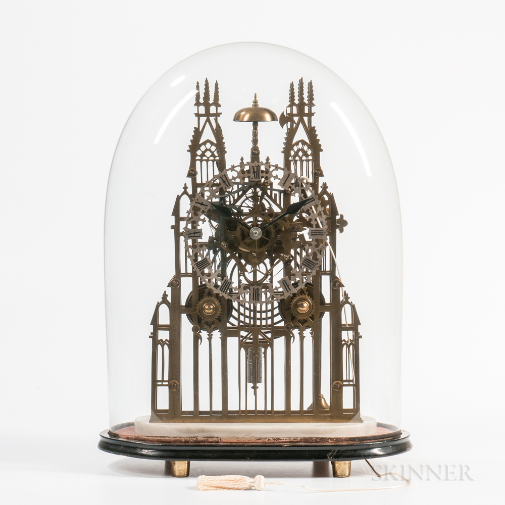 English Gothic or Cathedral-form Fusee Skeleton Clock